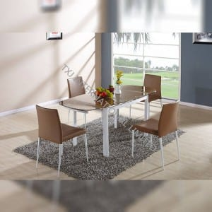 TD-1453 Brown glass extension table