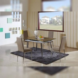 TD-1451 Brown Tempered Glass Extension Dining Table , With Metal Leg
