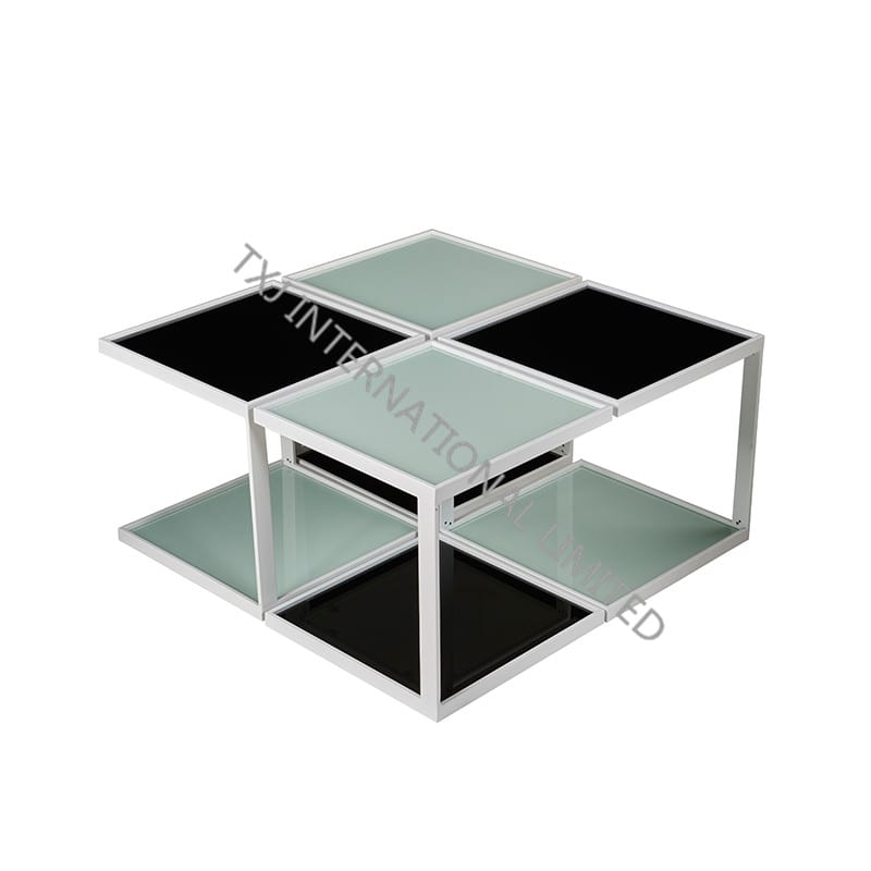 OPO Ceramic Coffee Table With Rose Gloden Chromed Frame Featured Image