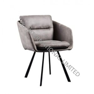 ERICA Fabric Dining Chair Armchair With Black Powder Coating Frame