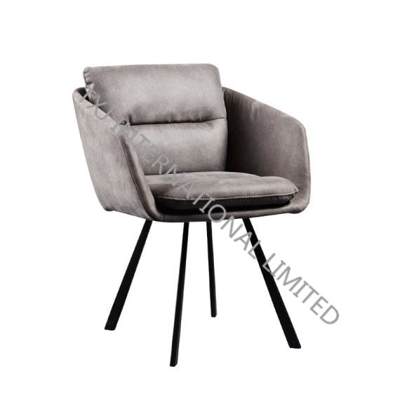 ERICA Fabric Dining Chair Armchair With Black Powder Coating Frame Featured Image