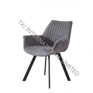 TC-1717 Fabric Dining Arm Chair With Black Powder Coating Legs