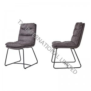 TC-1880 Hot Selling Vintage Fabric Dining chair With Black Powder Coating Legs