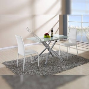 TD-1457 Tempered Glass With White Painting Dining Table