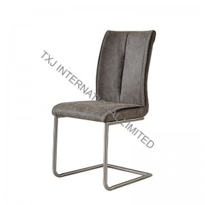 TC-1735 Vintage PU Dining Chair With Chromed Frame