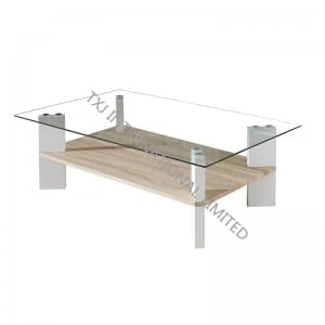 BT-1406B Tempered Glass Coffee Table With MDF Leg