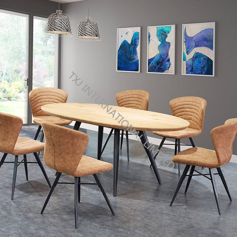 China Td 1852 Mdf Extension Table Oval Shape With Oak Paper Veneer Manufacturers And Suppliers Txj