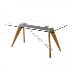 LEEDS Tempered Glass Dining Table With Solid Leg