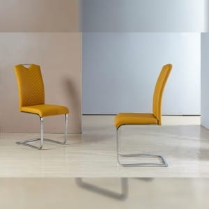 TC-1656 PU Dining Chair with Chromed Tube