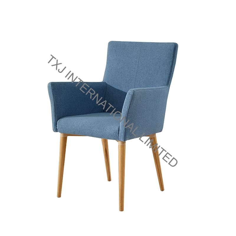 TC-1707B Fabric Dining Arm Chair With Solid Wood Legs Featured Image