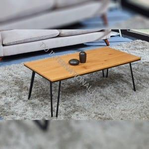 TT-1875  MDF Coffee Table with Oak Paper Veneer Metal tube