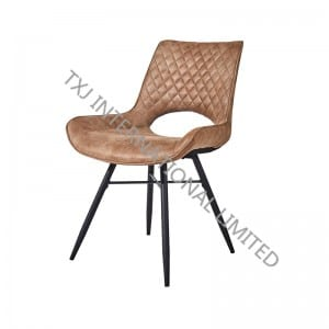 TC-1873 Popular Vintage Fabric Dining Chair With Black Powder Coating Legs