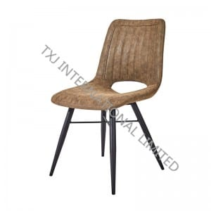 TC-1876 Miami PU Dining Chair With Black Powder Coating Legs