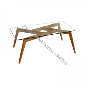 BARCELONA-CT Tempered Glass Coffee Table With Ash Wood