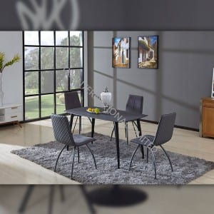 BD-1730 Black tempered glass dining table for kitchen room
