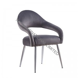 LONA Fabric Dining Chair Armchair With Chromed Legs