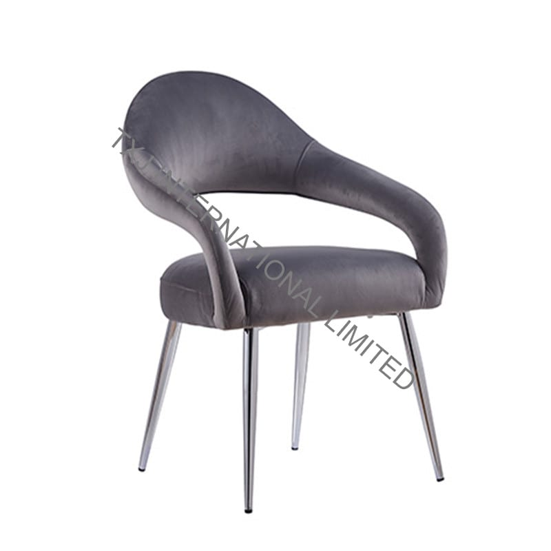 LONA Fabric Dining Chair Armchair With Chromed Legs Featured Image