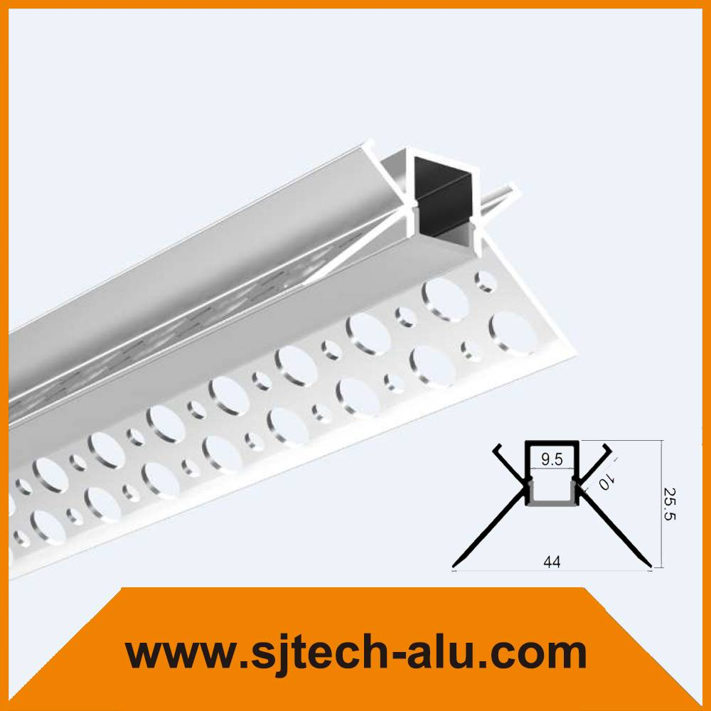 SJ-ALP4425 Plaster in Aluminum Led Profile for drywall mounted Insider Corner