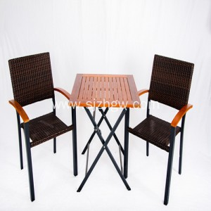 Outdoor Taman Urug Setél Rattan Table samet Sofa Siapkeun
