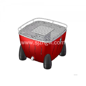 Arina Smokeless Grill Round Design Red loko