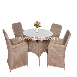 Outdoor kasangkapan sa bahay Rattan furniture dining table at upuan