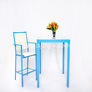 Set Fwyta Garden Blue Patio Furniture Set Tabl a Chadeiryddion