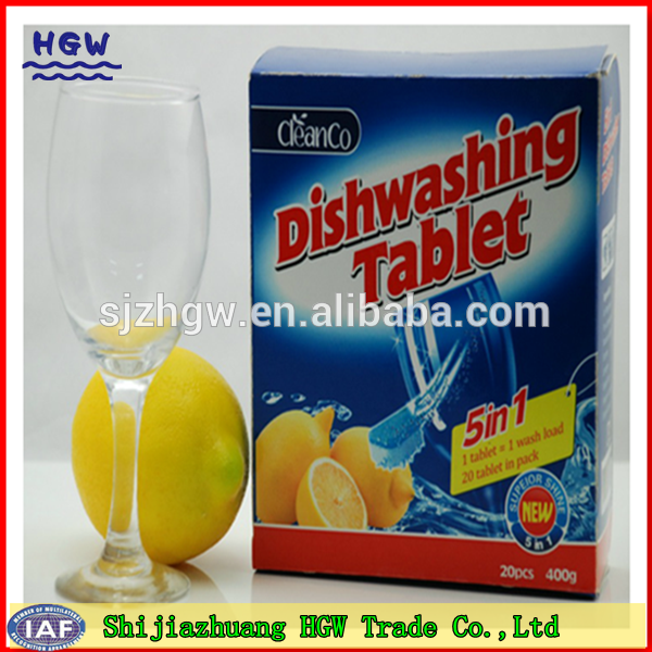 Dishwashing tablets packing in box
