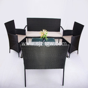 Rattan Dīvāns Set 4 Gabals Patio Furniture Krēsli Sofa Table