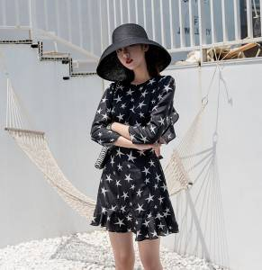 2020 summer new star print pure black sexy big backless straps slim ruffle hem dress women