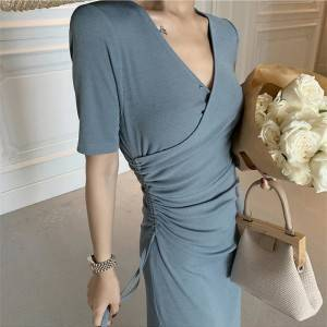 V-neck long French retro dress drawstring high slit temperament European and American dress summer 2020