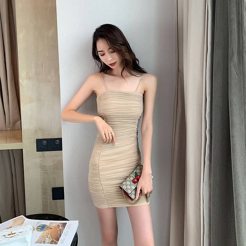 Super tight dress women's ultra-thin folds fashion sexy tube top temperament was thin strapless halter ladies skirt Featured Image
