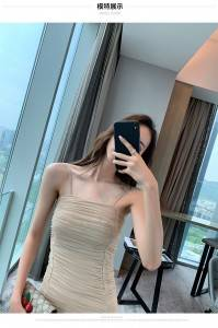 Super tight dress women's ultra-thin folds fashion sexy tube top temperament was thin strapless halter ladies skirt