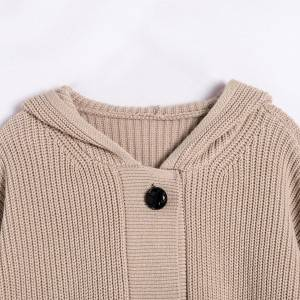 OEM cardigan for women custom thin knit long sleeve cotton plain anti-wrinkle sweater V neck spring autumn for girs