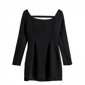 Fashionable sexy female body slimming waist slimming U-neck black personality long-sleeved dress female