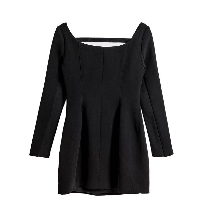 Fashionable sexy female body slimming waist slimming U-neck black personality long-sleeved dress female Featured Image