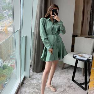 Silk texture long-sleeved lace shirt dress ruffled skirt dress