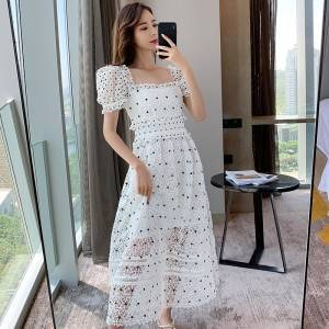 White hollow carved waist dress