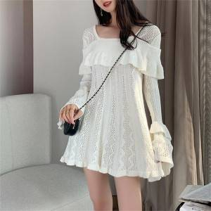 2020 spring white dress square collar lotus leaf flared sleeves small fresh hollow ladies party knitted skirt