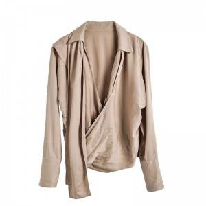 Early spring new women's clothing jacket washed crepe wrap design shirt