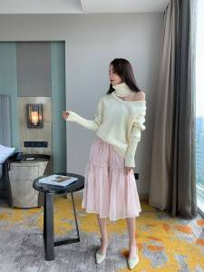 Cardigan sweater female 2020 autumn winter new European half-high collar loose cashmere sweater female bottoming shirt