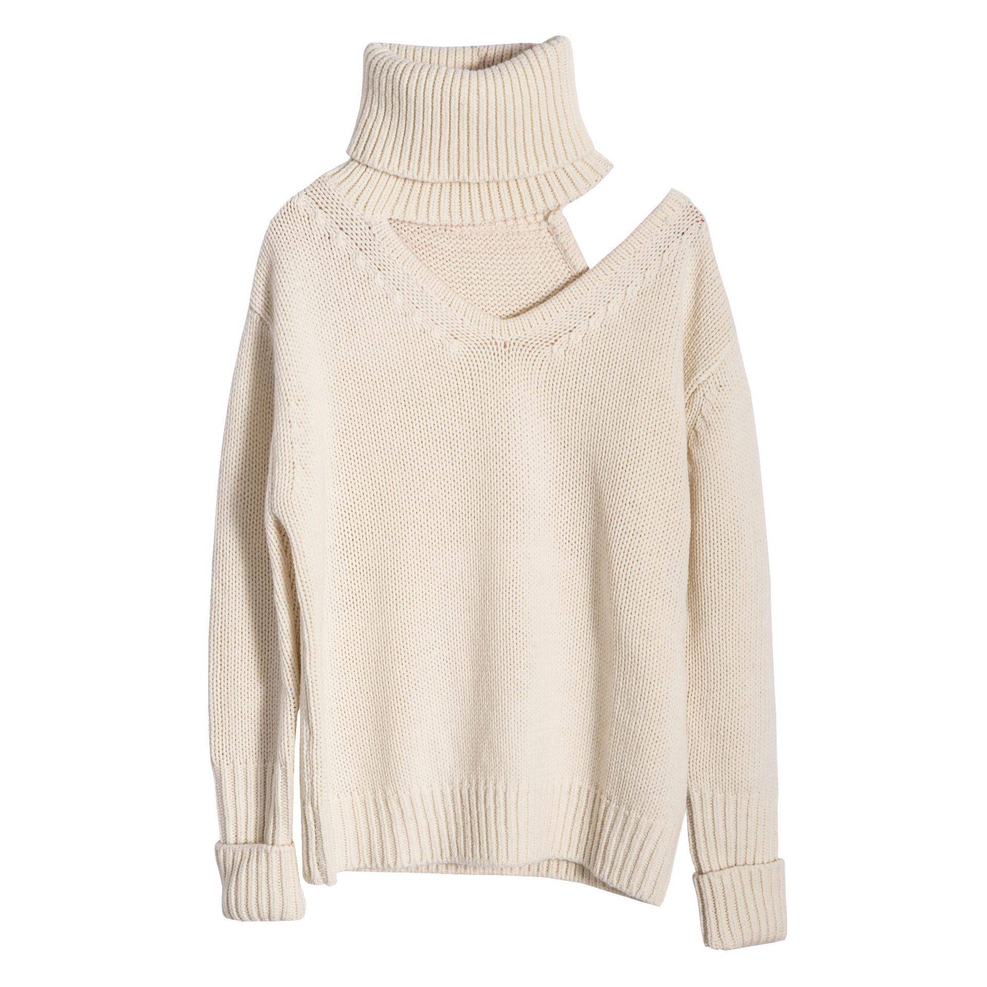 Cardigan sweater female 2020 autumn winter new European half-high collar loose cashmere sweater female bottoming shirt Featured Image
