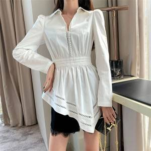 Fashion hem shirt female white cotton slim waist coat