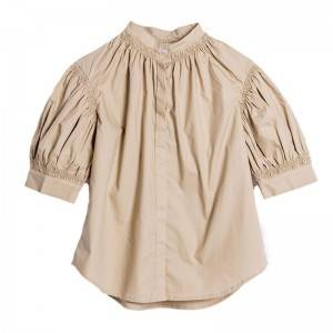 Sweet temperament pleated puffy sleeves small stand collar short sleeve shirt female camel shirt