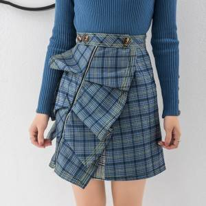 Skirt 2020 new irregular retro lattice half skirt fashion temperament was thin skirt