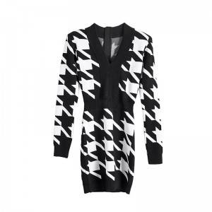 High cold goddess fan exclusive 2020 female personality houndstooth slim fashion dress