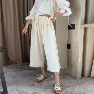 Wide-leg pants with drawstring straps
