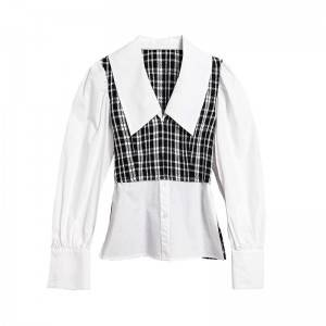 Plaid stitching style shirt female new doll collar long sleeve shirt female spring and autumn bubble sleeve top
