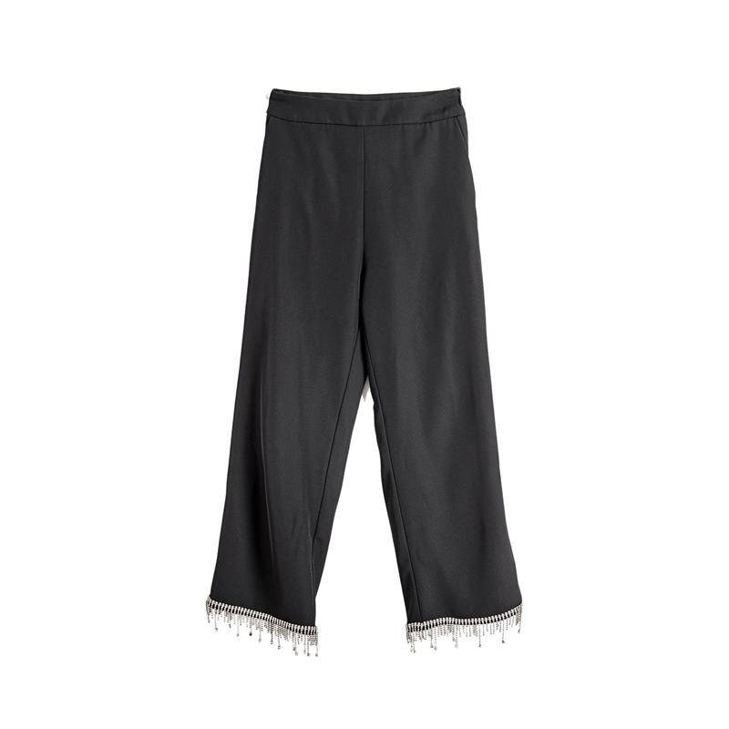 Broken diamond tassels black high waist casual cropped pants Featured Image