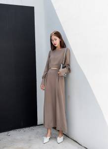 Excellent proportion high waist exposed navel was thin long long-sleeved elegant goddess dress female quiet mouth wave shiny satin
