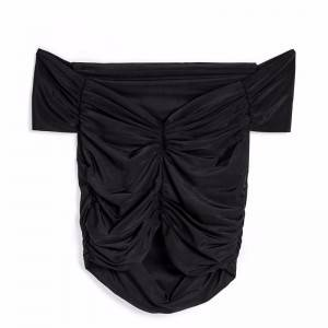 Black strapless and umbilical fold design elastic slim slimming short-sleeved sexy super short top